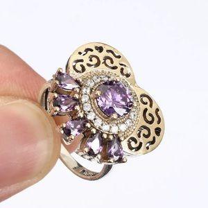Sultan Ottoman Topaz Amethyst Modern Silver Ring